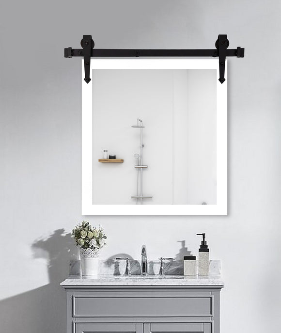 American Made Satin White Wall Accent Mirror with 3' Barn Door Kit (V090-3V)  *Suggested Retail*