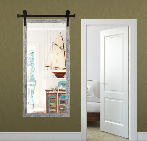American Made Weathered White Non-Beveled Tall Mirror with 3' Barn Door Kit (V093CVXT/T-3V) *Suggested Retail*