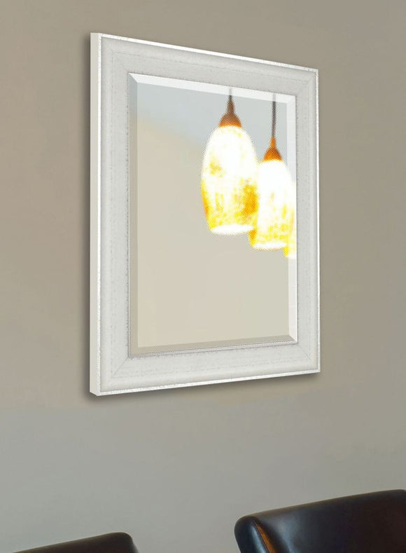 American Made Rayne Vintage White Beveled Wall Mirror (R056) *Suggested Retail*