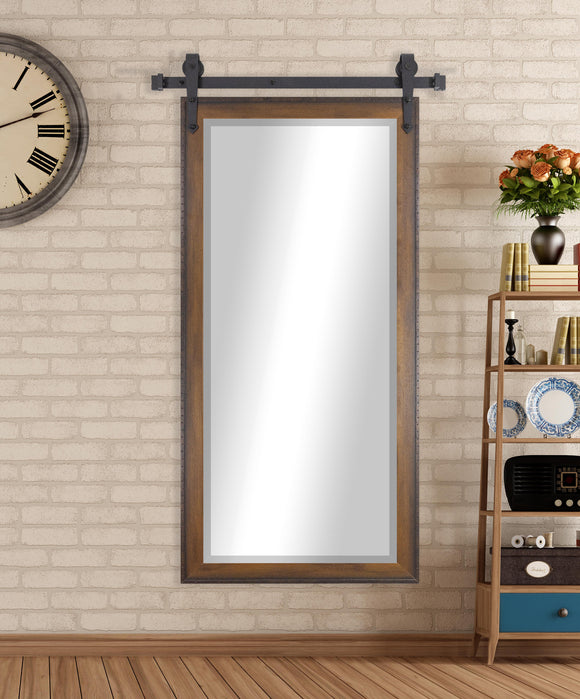 American Made Rayne Timber Estate Beveled Wall Mirror with Barn Door Kit (R052XT) *Suggested Retail*