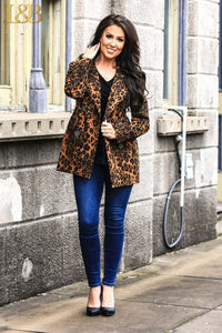 Brown Leopard Four Button Blazer Jacket