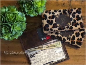 Upcycled LV & Leopard Leather Checkbook Cover