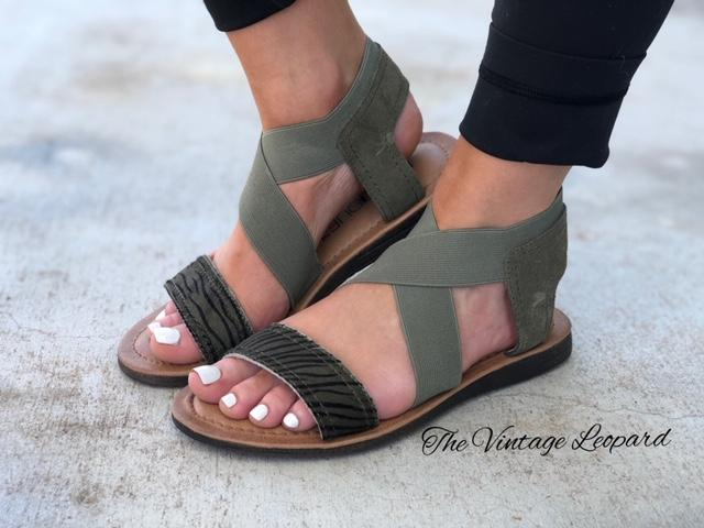 Corky's Adira Khaki Olive Leather Sandals