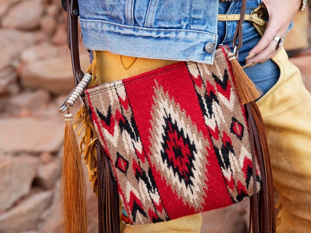 Mini Albuquerque Red Vintage Saddle Blanket & Leather Fringe Messenger