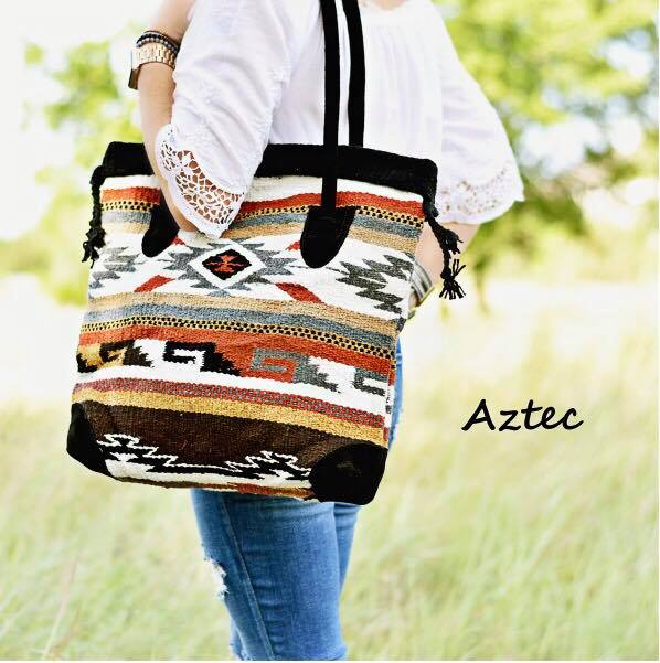 Aztec Wool & Suede Tote Bag