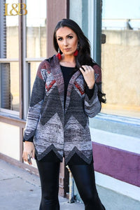 Black Aztec Stripe Sweater Hoodie Cardigan