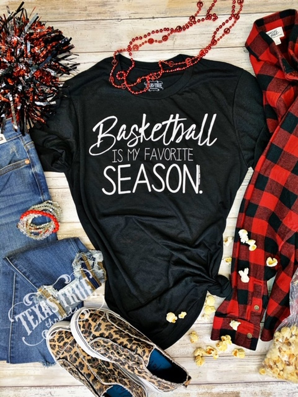 Basketball Is My Favorite Season Vintage Black Tee