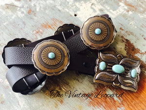 Chocolate Brown & Turquoise Round Concho Leather Belt