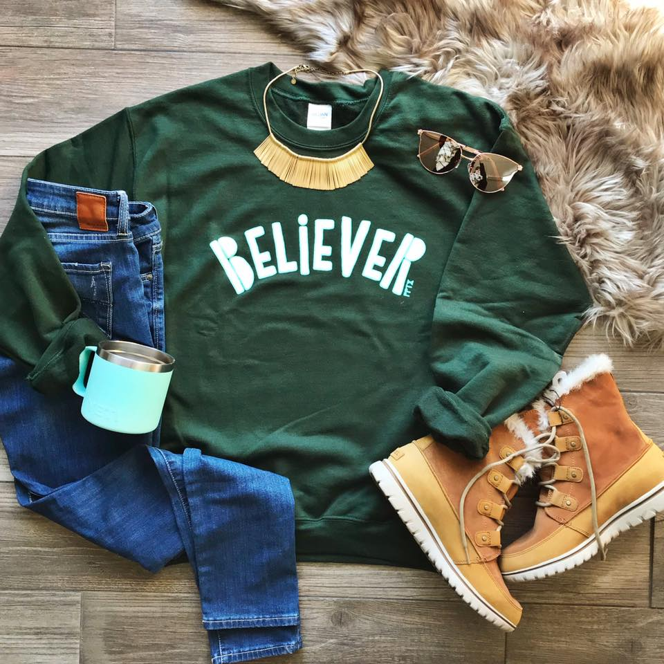 Christmas Green Believer Sweatshirt