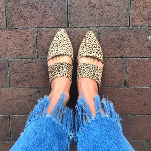Matisse Leopard Berlin Leather Mule Flats