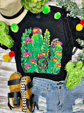 Load image into Gallery viewer, Callie's Cactus Blossom Vintage Black Tee