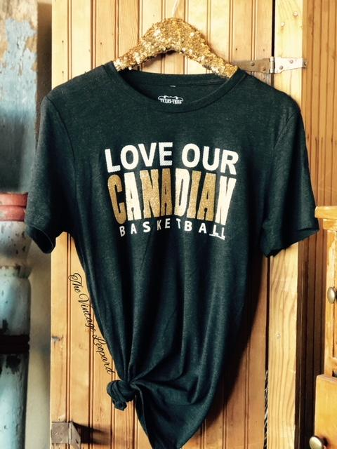 Love Our Canadian Basketball Glitter Tee