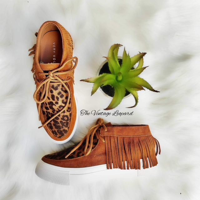 Very Volatile Leopard Capistrano Leather Moccasin Sneakers