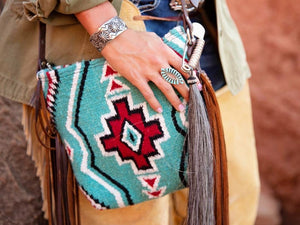 Mini Carico Lake Turquoise Vintage Saddle Blanket & Leather Fringe Messenger