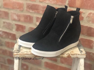 Black Charlotte Wedge Sneaker Shoe