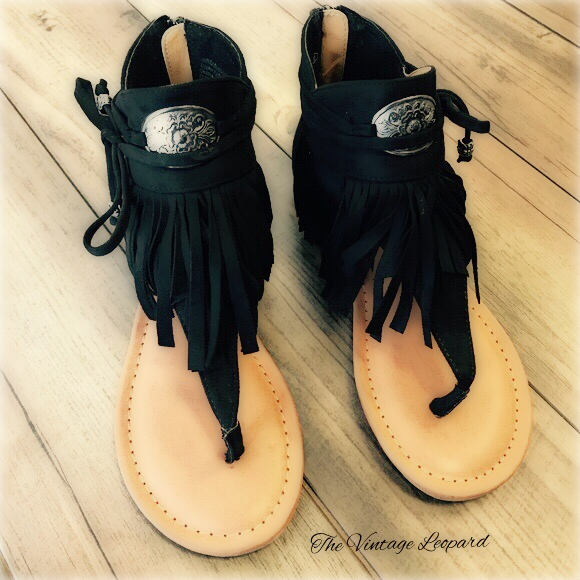 Chia Black Fringe Sandals