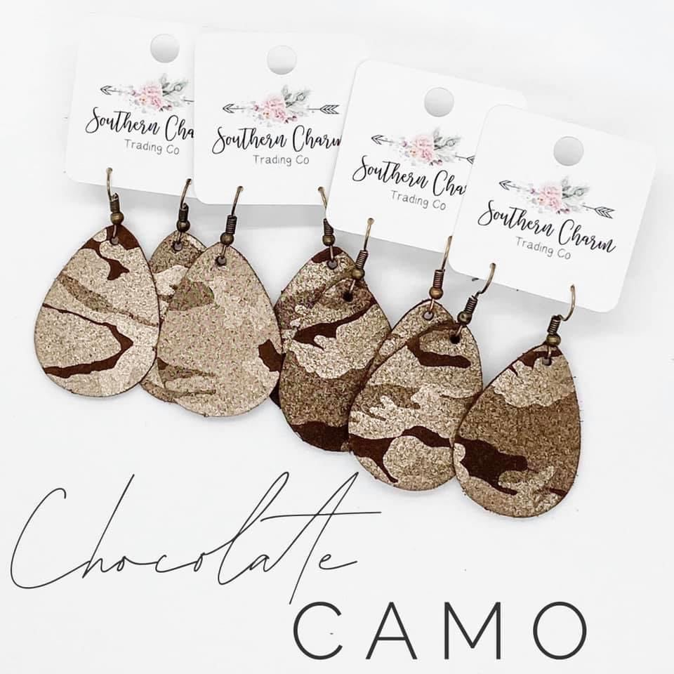 Chocolate Camo Shimmer Bitty Leather Teardrop Earrings