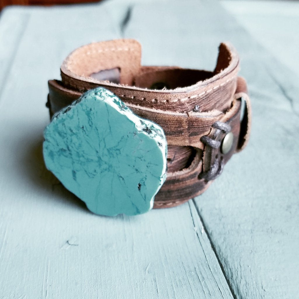 Chunky Blue Turquoise Leather Cuff