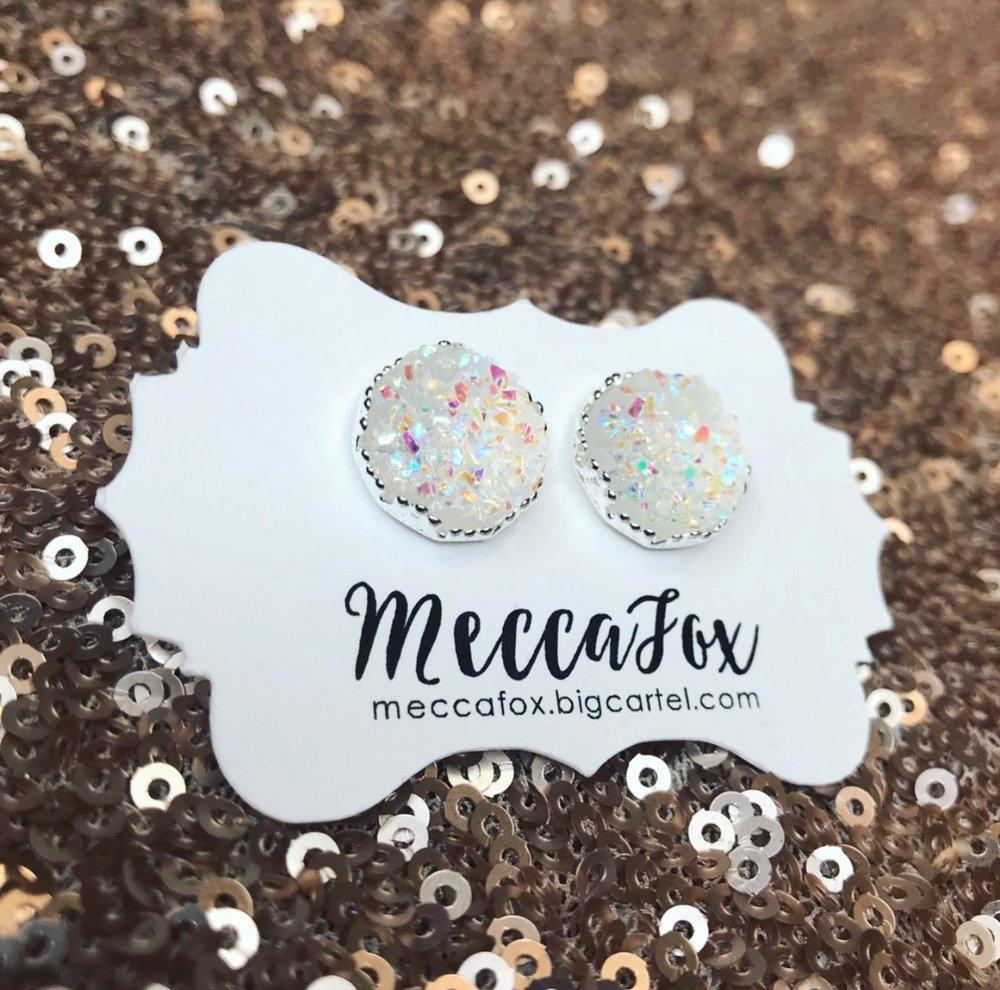 Silver Clear Druzy Princess Stud Earrings