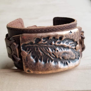 Large Feather Copper Leather Cuff