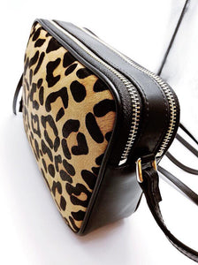 Leather Hair on Hide Leopard Double Zip Crossbody