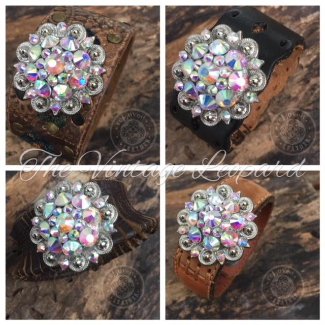 ReLoved Leather Crystal Casual Vintage Cuff