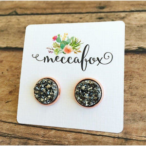 Dark Silver Druzy Rose Gold Stud Earrings