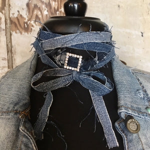 reLoved Leather Upcycled Denim Rhinestone Wristlet & Choker