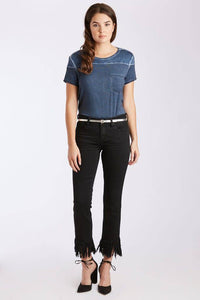 Dear John Black Erin Slim Straight Carver Fray Jeans