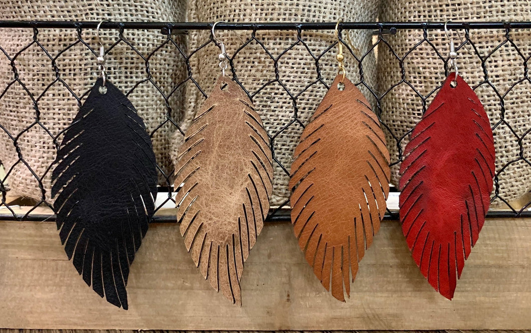 Fall Leather Feather Earrings