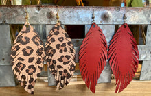 Load image into Gallery viewer, Fall Leather Feather Earrings
