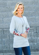 Heather Blue Grey Floral Cuff Ruche Dolman Top