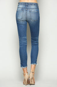 Flying Monkey Double Waistband Uneven Hem Ankle Skinny Jeans