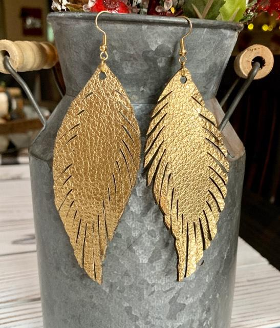 Metallic Gold Fall Feather Leather Earrings