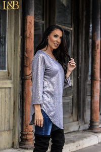 Metallic Gold Snake Scoop Tunic Top