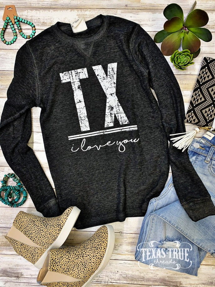 I Love You TX Twisted Black Vintage Thermal