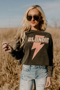 Blondie Bolt Washed Black Long Sleeve Crop
