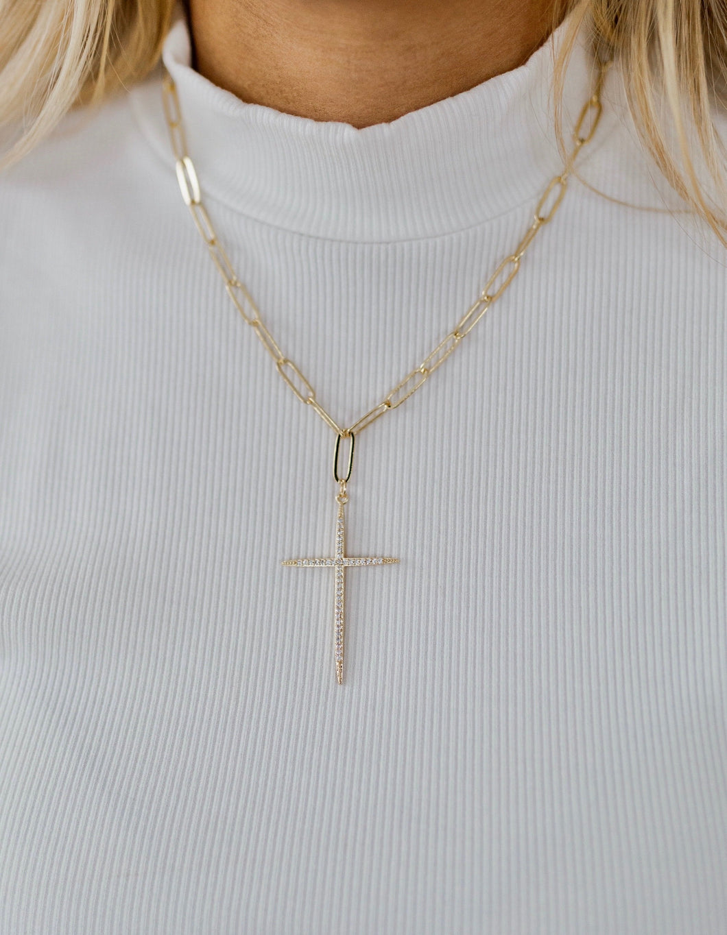 Ash Gold Pave Cross Chain Necklace