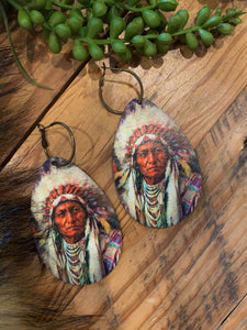 Big Chief Leather Teardrop Earrings
