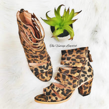 Italian Leather Strappy Open Toe Leopard Booties