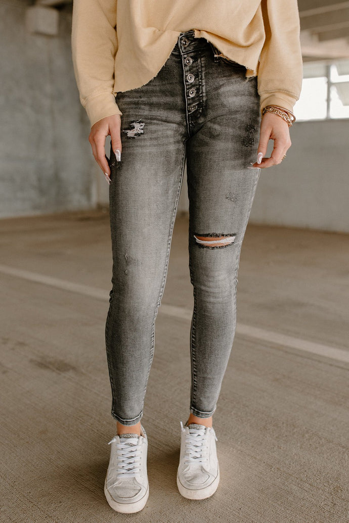 Blair Faded Grey Mid Rise Skinny Jeans