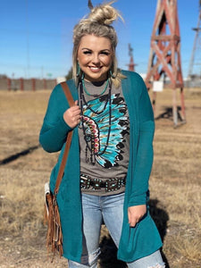 Teal Hacci Long Pocket Cardigan