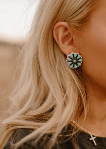 Calamity Jane Natural Turquoise Cluster Stud Earrings