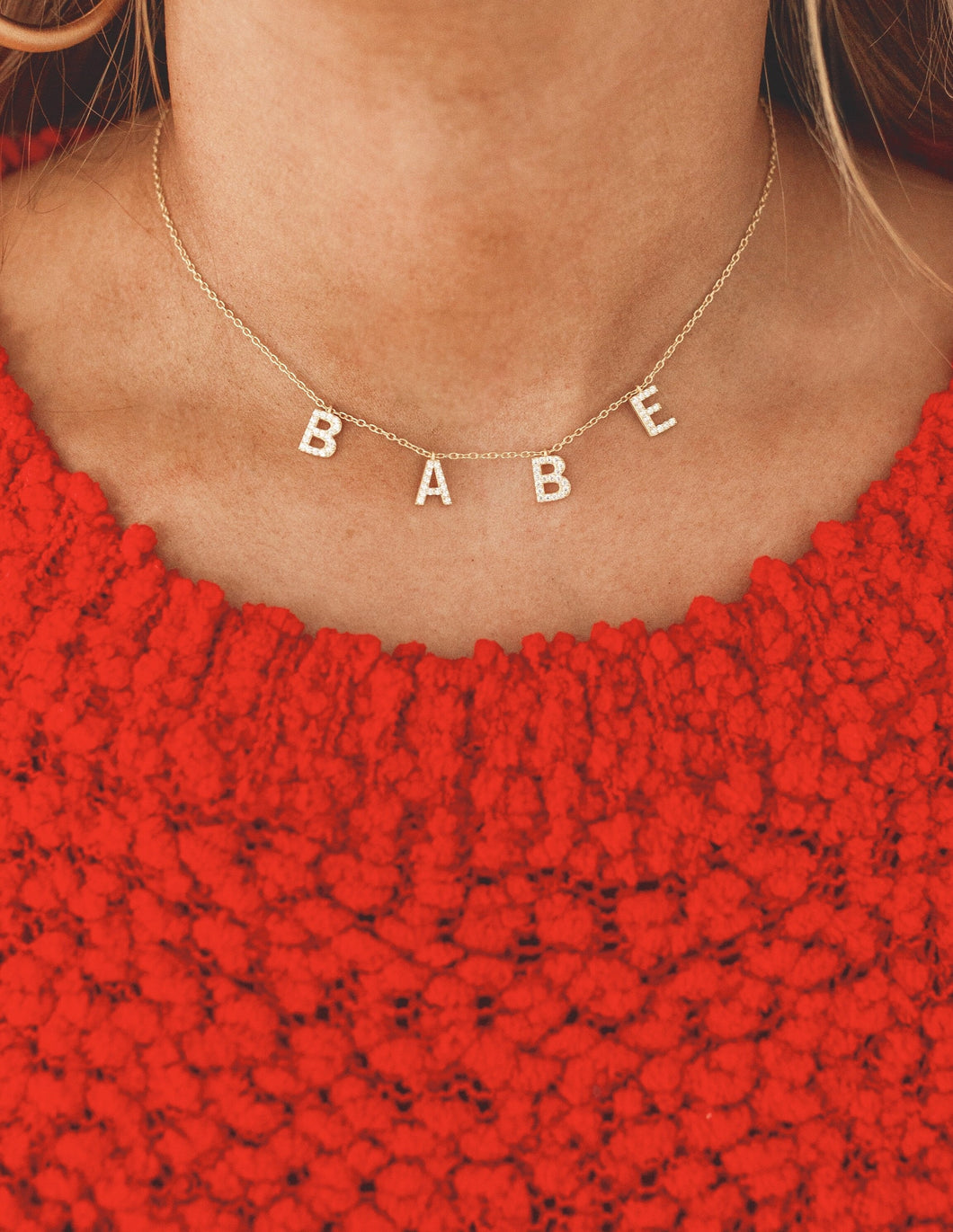 Babe Gold Crystal Necklace