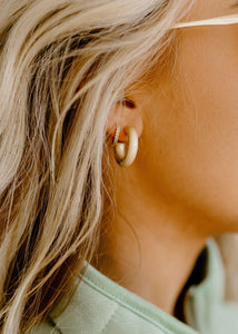 Raley Matte Gold Chunky Mini Hoops