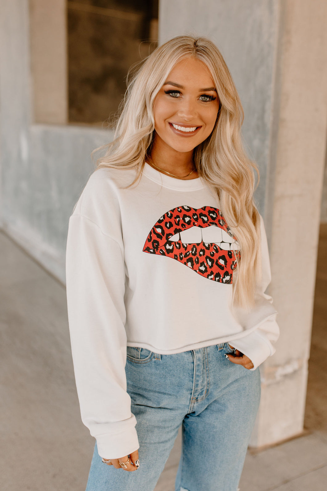 Feel The Love Cropped Lips Sweatshirt