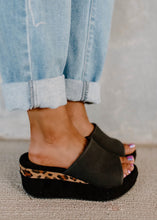 Load image into Gallery viewer, Corky's Black & Leopard Tito Platform Wedges