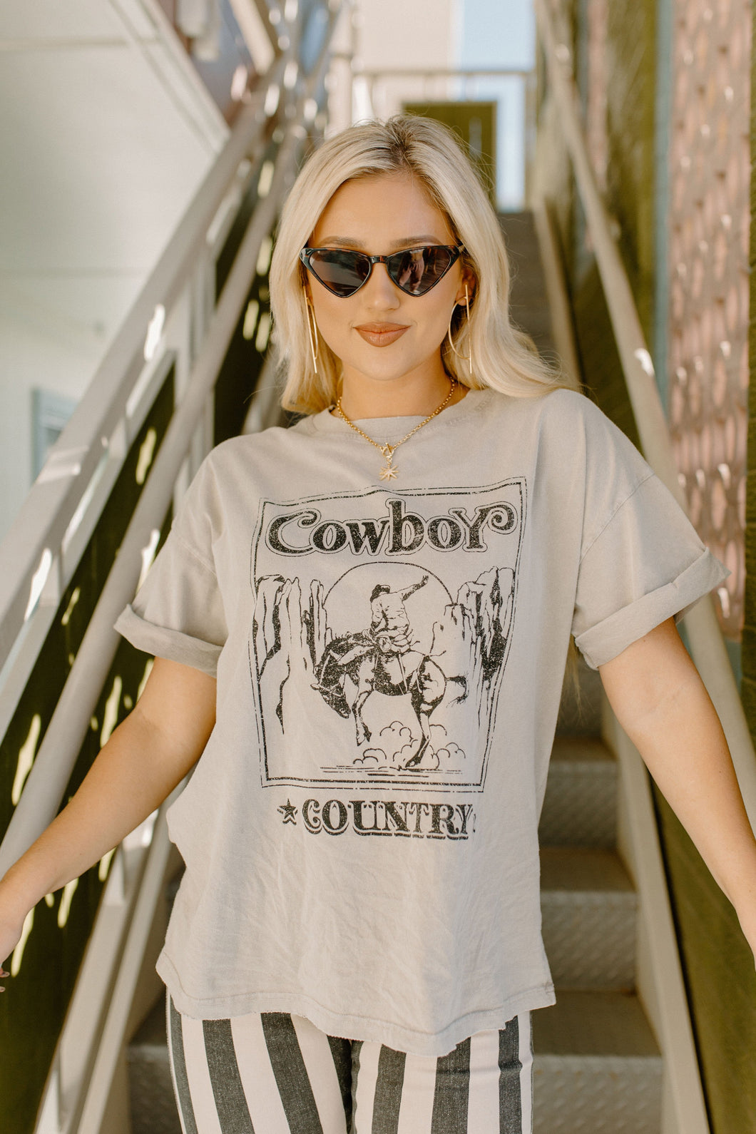 Cowboy Country Taupe Tee