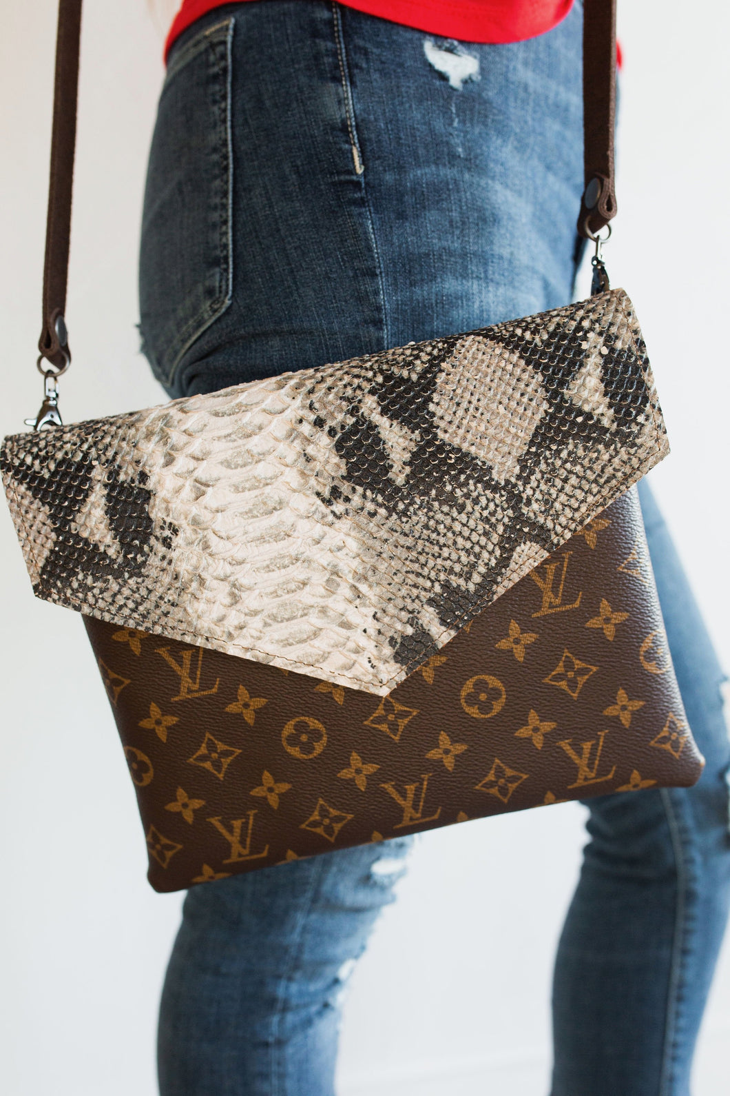 Alexa Upcycled LV & Leather Python Crossbody