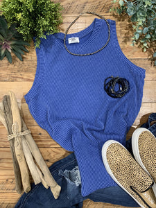 Jill Wavy Ribbed Royal Blue Tank